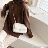 洋氣呢子包包女新款韓版時尚洋氣百搭錬條單肩斜挎小方包 【傑克型男館】