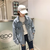 春秋女裝韓版復古寬鬆百搭工裝牛仔夾克短款外套做舊休閒上衣學生