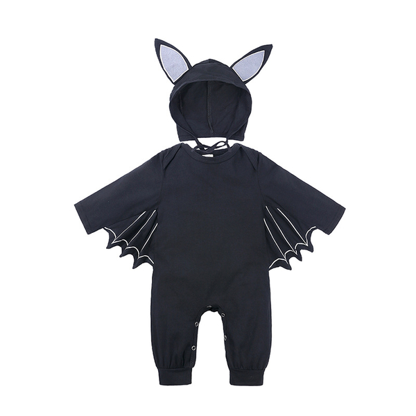 萬聖節服裝 萬聖節 黑蝙蝠 帽子+長袖連身衣 造型包屁衣 男童 橘魔法 現貨 童裝 嬰兒 新生兒