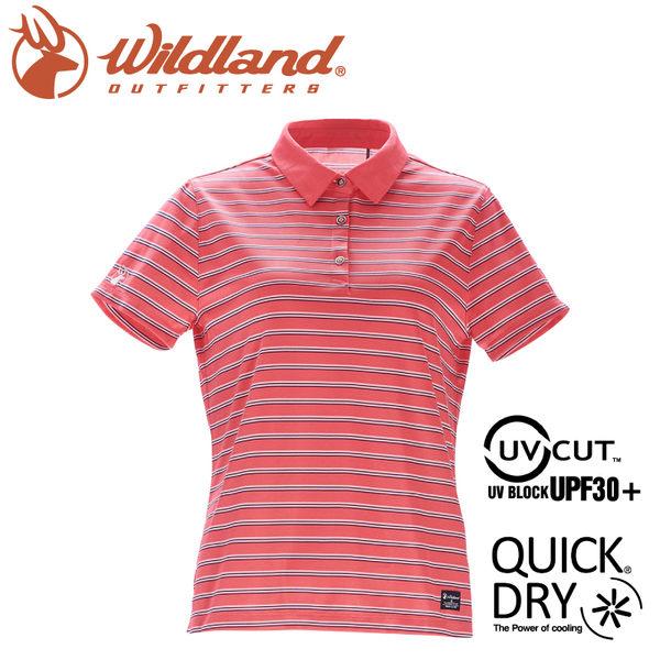 【Wildland 荒野 女 涼感抗UV條紋POLO上衣《蜜粉紅》】0A71601/運動衣/吸濕排汗/短袖/polo衫