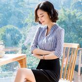 職業裝套裝夏季新款條紋雪紡襯衫女OL短袖襯衣 GB4701『樂愛居家館』
