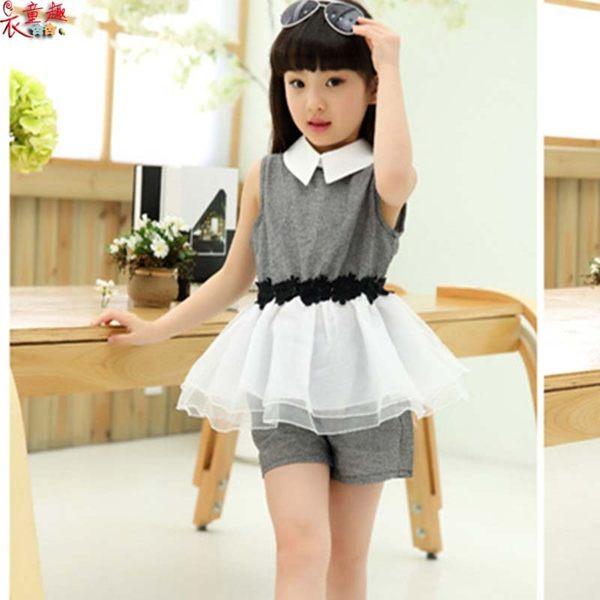 衣童趣 ♥韓版女童 翻領無袖兩件式套裝 甜美紡紗拼接上衣+短褲 氣質套裝