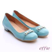 effie 繽紛舒適 全真皮金屬條帶低跟鞋  淺藍