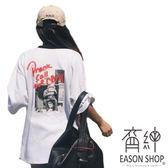 EASON SHOP GU1968 實拍白色圓領短袖T 恤照片T 英文印刷撞色領女上衣白棉