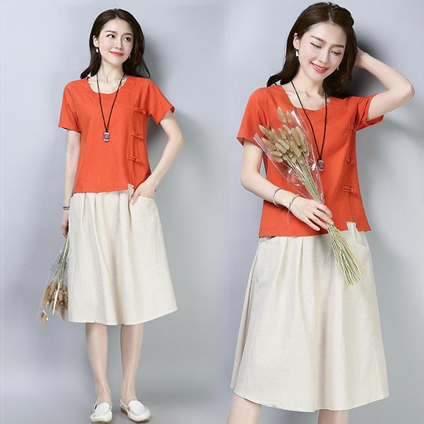 【名模衣櫃】森-文藝裙兩件式套裝-橘紅色-(M-2XL可選)  51908