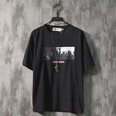 T恤-港風男短袖t恤個性簡約印花學生簡約青少年男生時尚日系寬鬆夏季