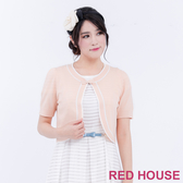 【RED HOUSE 蕾赫斯】素面蝴蝶結短版外套(粉橘色) 任選2件899元