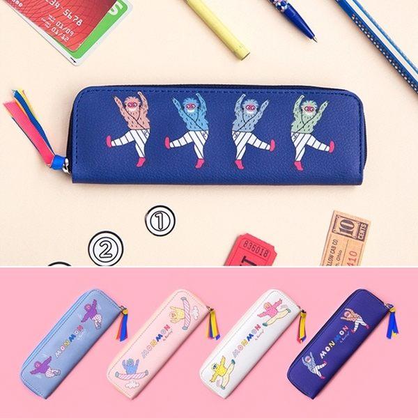 收納包-MONMON猴子搞怪筆袋/鉛筆盒/收納袋/文具/零錢包-共4色-B310002-FuFu