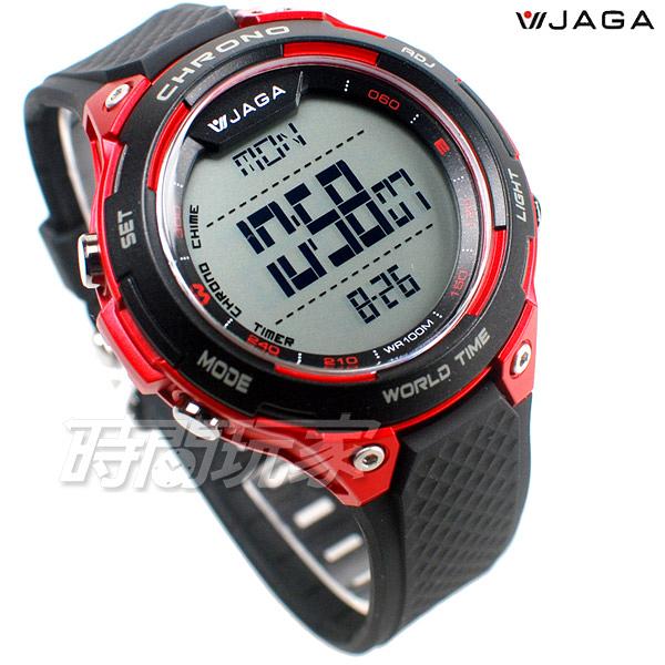 JAGA捷卡 超大液晶顯示 多功能電子錶 夜間冷光 可游泳 保證防水 運動錶 學生錶 M1193-AGG(黑紅)