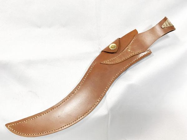 郭常喜與興達刀鋪-積層鋼蛇形藝術刀附手工皮套(A0330),刀柄:銅+黑檀木