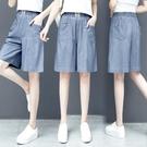 牛仔五分褲 天絲牛仔短褲女夏寬鬆高腰顯瘦薄款寬管六分牛仔五分褲女-Ballet朵朵