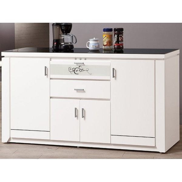 櫥櫃 餐櫃 QW-649-2 魯邦白色5尺黑玻餐櫃【大眾家居舘】