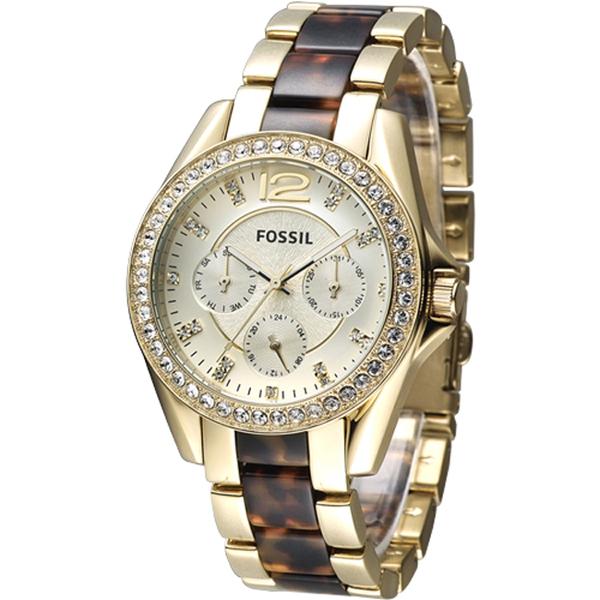 FOSSIL Riley璀璨年代三眼時尚女錶-玳瑁金(ES3343)