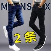 伊人 牛仔褲男修身小腳褲黑休閒直筒長褲
