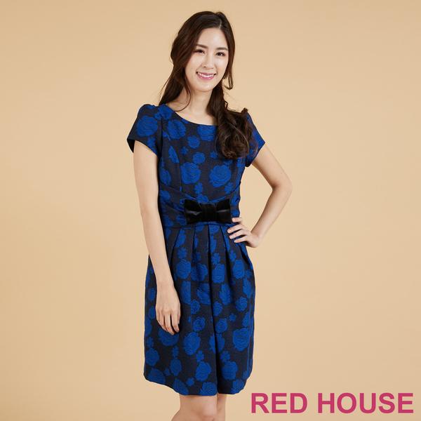 【RED HOUSE 蕾赫斯】玫瑰緹花蝴蝶結洋裝(深藍色)