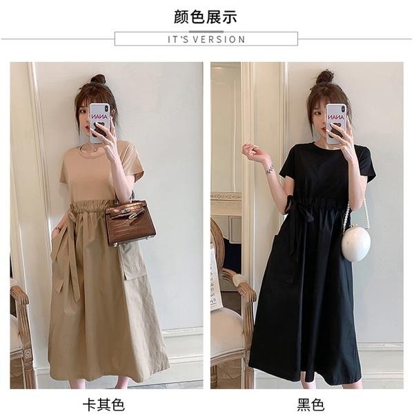假兩件拚接顯瘦孕婦洋裝 兩色【CWH662102】孕味十足 孕婦裝