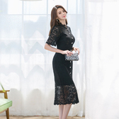 洋裝 禮服2592#2019新款時尚禮服款名媛氣質女人蕾絲連身裙ZLA71-A快時尚