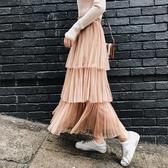 蛋糕裙半身裙春夏仙女網紗高腰百褶長裙子