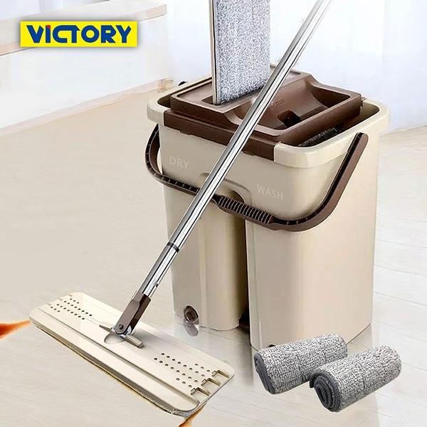 【VICTORY】刮刮樂乾濕兩用免沾手拖把(1桶1拖4布)#1025087