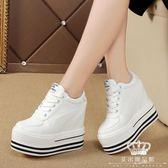 內增高鞋 小白鞋女百搭韓版厚底12cm運動鞋