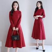 秋冬長洋裝女復古改良式旗袍 中長款修身時尚氣質棉麻長袖洋裝連身裙 週年慶降價