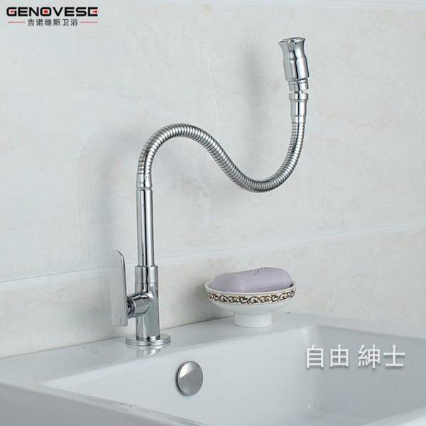 (萬聖節)廚房水槽水龍頭單冷陽台拖把池龍頭萬向管洗衣池龍頭可彎曲 全銅