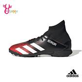 adidas足球鞋 男童足球鞋 PREDATOR 20.3 TF 大童鞋 碎釘 社團足球鞋 S9317#黑紅◆OSOME奧森鞋業
