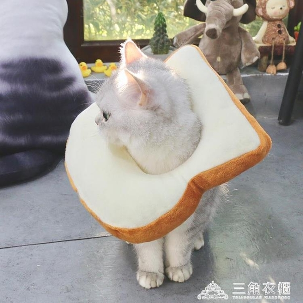 ins搞怪寵物貓頭套 吐司麵包項圈套泰迪英短加菲小貓拍照網紅飾品 三角衣櫃
