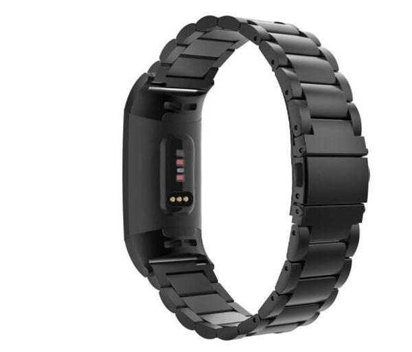 錶帶 黑色 MoKo Band Compatible Fitbit Charge 3/Charge 4, Premium Stainless Steel Metal B07HF4BTJ6