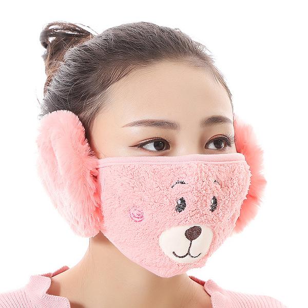 【獨愛3C用品】【買三送一】冬季必備保暖卡通造型小熊絨毛防塵口罩耳罩二合一(編號8/酒窩桃色)