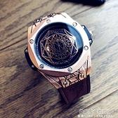 歐美風新概念時尚潮流男士防水手錶學生錶男大錶盤手錶個性石英錶 喜迎新春