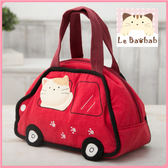 手提包~Le Baobab日系貓咪包 啵啵貓小跑車便當袋/拼布包包