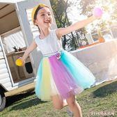 花童禮服 中大尺碼女童連身裙時尚公主彩虹裙夏季蓬蓬裙洋氣潮 DR22555【Rose中大尺碼】