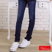 Victoria V字燙鑽窄直筒褲-女-中深藍