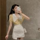 套裝 氣質襯衫泡泡袖上衣 a字半身裙時尚小個子顯高套裝洋氣兩件套女夏