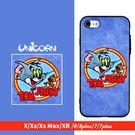 牛仔藍皮革湯姆貓與傑利鼠 全包軟殼 保護殼 iphone  XSMax XR X XS 8 8plus 7 7plus Unicorn手機殼