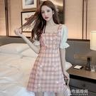 短洋裝 夏季新款方領泡泡袖格子裙收腰顯瘦短袖短洋裝【全館免運】
