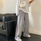 寬管褲 灰色運動褲女流行褲子寬鬆休閒高腰垂感顯瘦直筒闊腿拖地長褲 晶彩 99免運