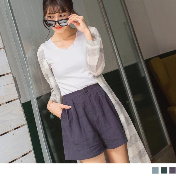 OB嚴選《BA3063-》打褶設計後腰鬆緊素色亞麻短褲.3色--適 S~L