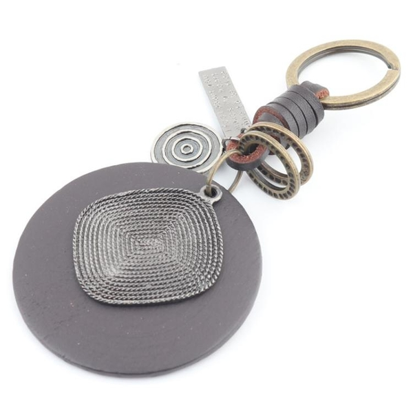 民族風圓形木鑰匙扣個性汽車掛件鑰匙環男腰掛件手工