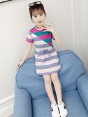 女童短袖洋裝夏季新款兒童中大童夏裝洋氣純棉韓版休閒裙子 poly girl