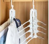 【八合一衣架】魔術一秒收衣服 快速收折架 可掛8件摺疊衣架 懶人曬衣架 旋轉防風伸縮衣架