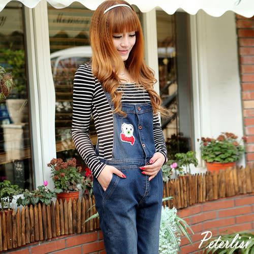 新款春裝時尚韓版可愛小熊貼布印花孕婦牛仔休閒背帶褲  Q8817D 彼得麗絲