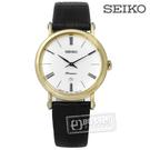SEIKO 精工 /  7N89-0AY0K.SXB432J1 /  Premier 古羅馬革新藍寶石水晶牛皮手錶 銀x金框x黑 30mm