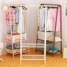 單桿式衣帽架簡易掛衣架落地臥室掛衣服的架子多功能曬衣架落地架特惠免運