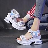 女式運動涼鞋仙女風新款夏季網紅厚底松糕內增高潮牌羅馬鞋 優拓