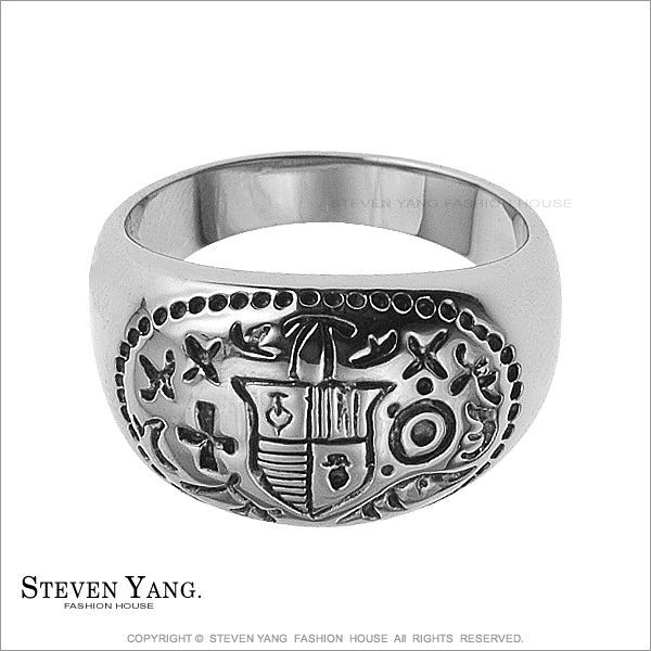 戒指 西德鋼飾「龐克盾牌鋼戒」街頭嘻哈風 單個價格 內側適刻字