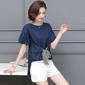 海外直發不退換韓版套裝2019夏裝新款韓版寬松顯瘦大碼女裝200斤胖妹妹套裝女裝小清新潮(MA137)