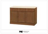 【MK億騰傢俱】BS312-02凡尼爾樟木色仿石紋面4尺碗盤下櫃
