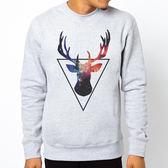 Triangle-Deer大學刷毛美國棉T-灰色 三角形 鹿 鬍鬚 動物 銀河 太空 文青 藝術 Gildan 980